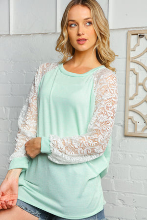 Mint & Off Ivory Round Neck Lace Bubble Sleeve Raglan Blouse