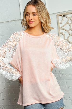 Plus Blush & Off Ivory Round Neck Lace Bubble Sleeve Raglan Blouse