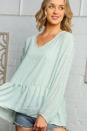 Mint Animal Print Babydoll Bubble Sleeve Woven Blouse
