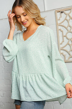 Plus Mint Animal Print Babydoll Bubble Sleeve Woven Blouse