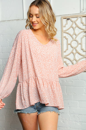 Blush Animal Babydoll Bubble Sleeve Woven Blouse