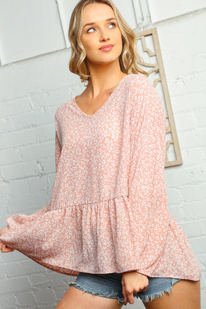 Plus Blush Animal Print Babydoll Bubble Sleeve Woven Blouse