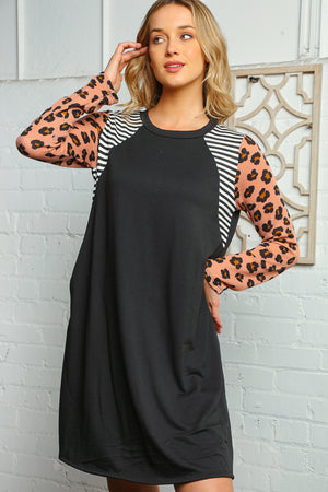 Plus Black Ivory & Blush Thermal Stripe Animal Print Tunic Shift Dress