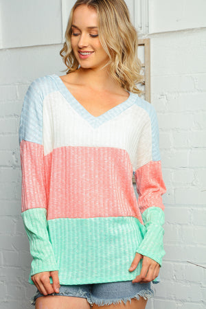 Plus Coral Multi Colored Two Tone Color Block Vneck Loose Blouse