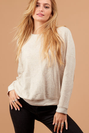 Ivory Soft Elbow Patch Sweater