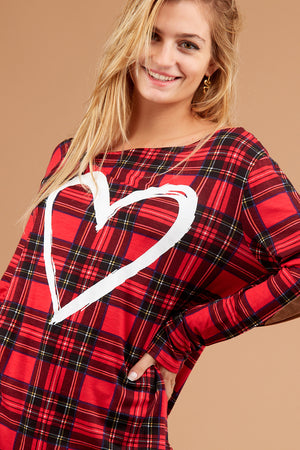 Plus Plaid Heart Off Shoulder Blouse