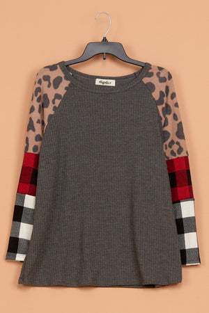 Thermal Animal Plaid Color Block Blouse