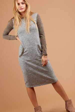 Off Brown Marled Raglan Dress