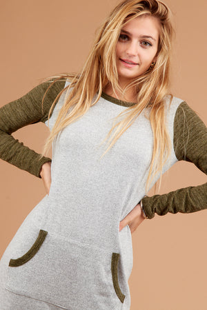 Olive Marled Raglan Dress