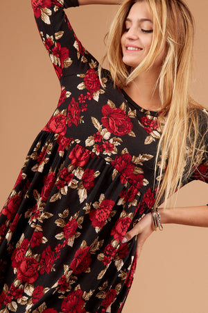 Black Floral Babydoll Dress