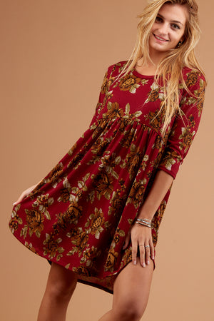Burgundy Floral Babydoll Dress