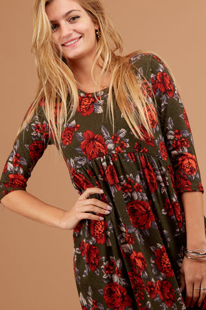 Olive Floral Babydoll Dress