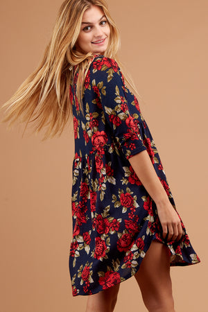 Navy Floral Babydoll Dress