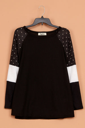 Thermal Polkadot Color Block Blouse
