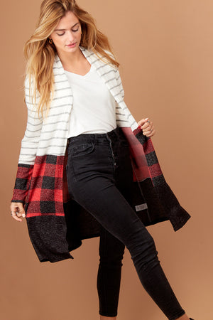 Plaid Stripe Color Block Cardigan