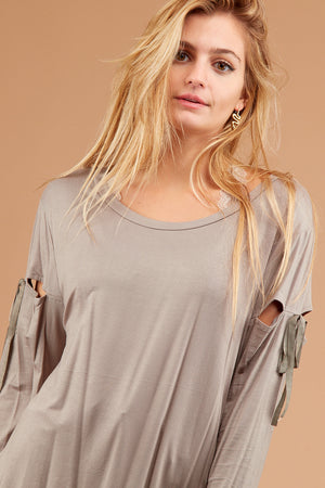 PLUS Taupe Cut Out Blouse