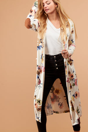Ivory Floral Duster Cardigan