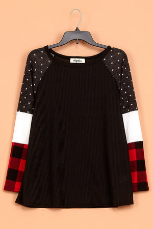 Thermal Polkadot Plaid Color Block Blouse