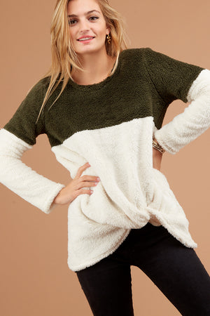 Olive Colorblock Sherpa Sweater