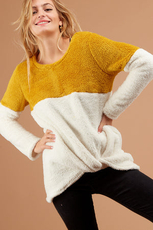Mustard Colorblock Sherpa Sweater