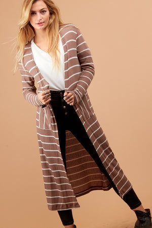 Brown Thermal Stripe Pocketed Duster