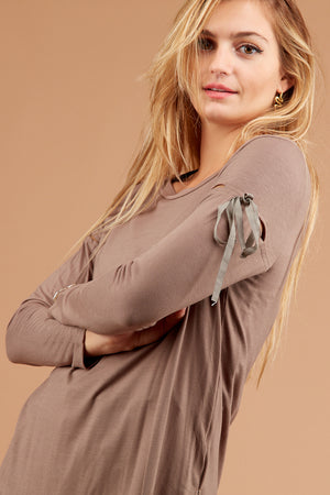 Brown Cut Out Blouse