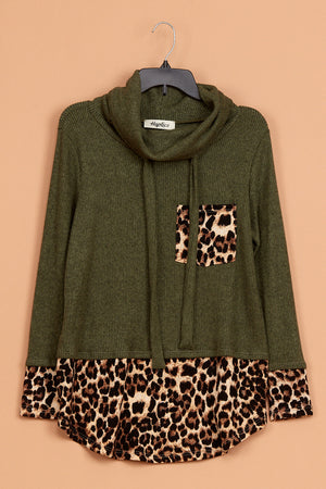 Olive Animal Cowl Neck Pocket Sweater