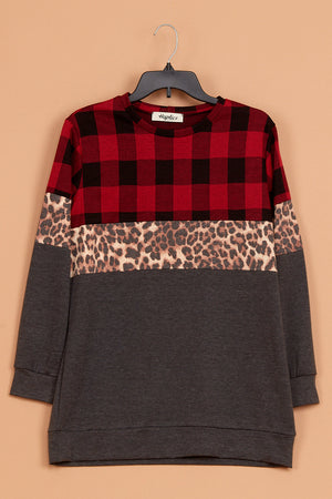 Plaid Animal Color Block Long Sweater