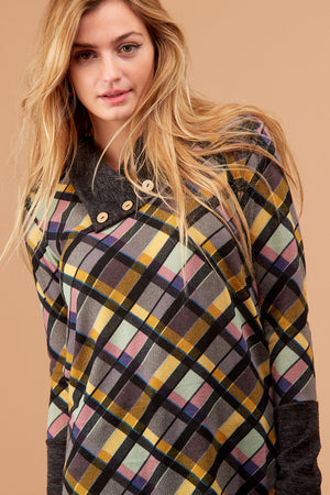 Grey & Yellow Plaid Button Sweater