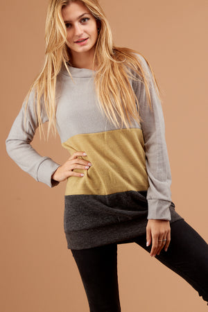 Grey & Yellow Colorblock Sweater