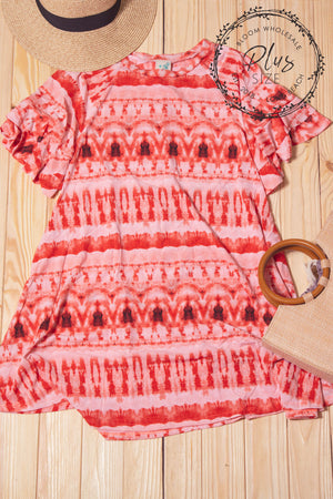 Plus Coral Printed Pocketed Dress