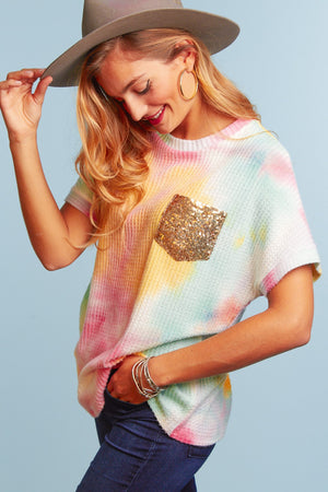 Tie Dye Thermal Sequins Pocket Blouse