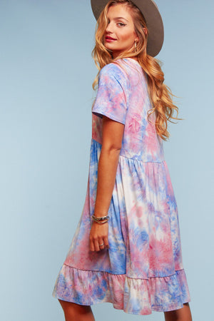 Plus Tie Dye Pocketed Dress