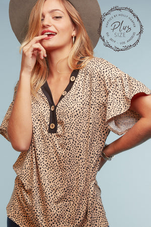 Plus Taupe Animal Button Blouse (5 pcs 2-2-1)