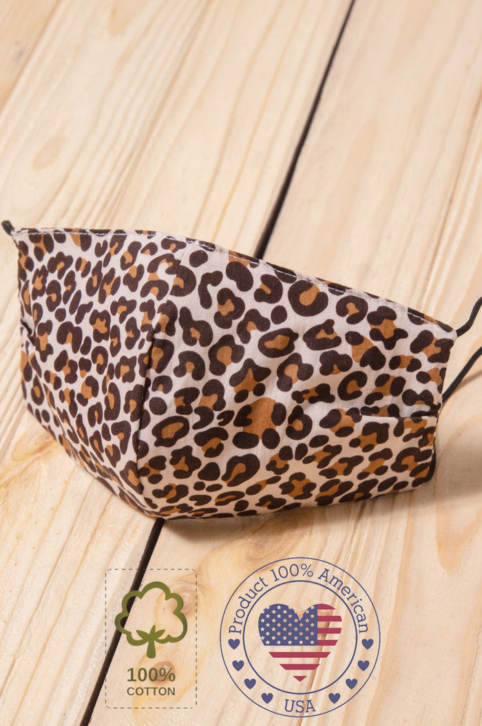 Taupe Animal Printed Cotton Face Mask