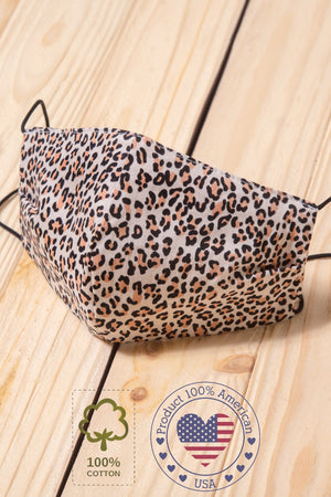 Taupe Animal Cotton Face Mask