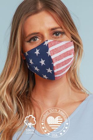 American Flag Printed Cotton Face Mask