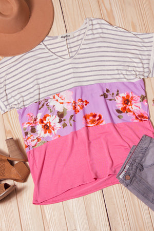 Floral Stripe Color Block Blouse