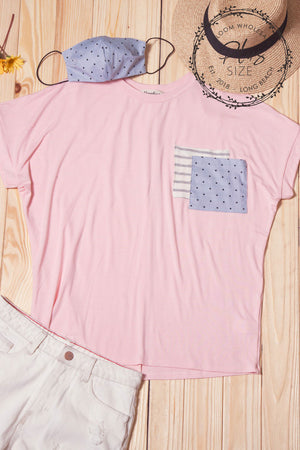 Blush Polkadot Stripe Pocket Blouse