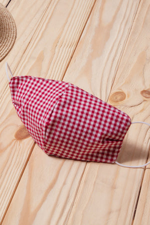 Red Gingham Cotton Face Mask