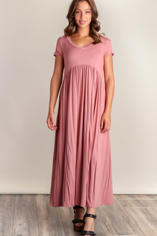 Mauve V-Neck Maxi Dress