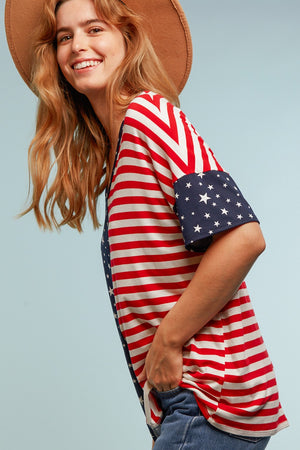 Stars & Stripes Color Block Blouse
