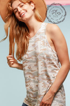 Plus Camo Twist Back Tank