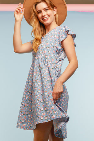 Denim Floral Babydoll Pocketed Dress