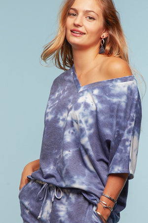 Plus Navy & Ivory Tie Dye Blouse
