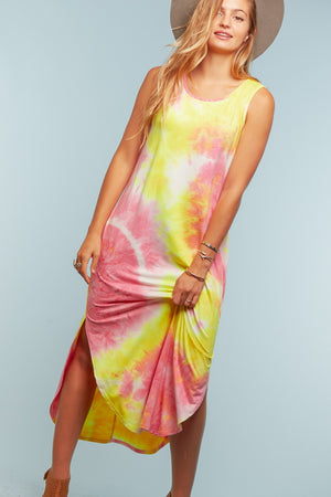 Fuchsia & Yellow Tie Dye Pocketed Dress