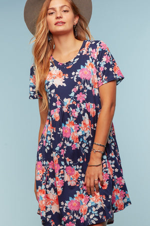 Plus Navy Floral Pocketed Babydoll Dress