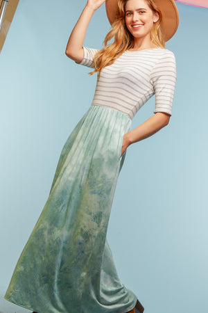 Tie Dye Stripe Maxi Dress