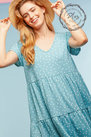 Plus Blue Polkadot Design Tiered Dress