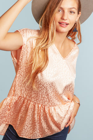 Peach Animal Print Shimmer Peplum